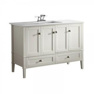 "Simpli Home Chelsea 48"" Bath Vanity with White Quartz Marble Top, Soft White (Retail $889.00)"