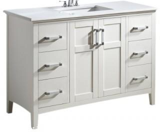 "Simpli Home Winston 48"" Bath Vanity with Quartz Marble Top, White (Retail $1,162.00)"