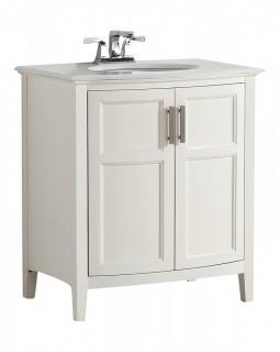 "Simpli Home Winston 30"" Bath Vanity Rounded Front with Quartz Marble Top, Soft White (Retail $804.00)"
