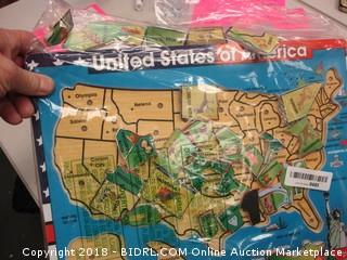 United States Wooden Map