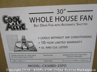 Cool Attic CX30BD2SPD Belt Drive 2-Speed Whole House Fan with Shutter, 30-Inch (Retail $357.00)