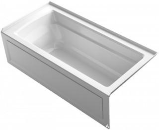 KOHLER K-1948-RA-0 Archer ExoCrylic 66-Inch x 32-Inch Three-Side Integral Flange Bath with Apron and Right-Hand Drain, White (Retail $935.00)