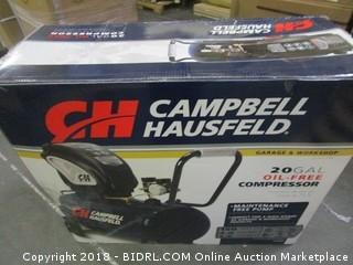 Air Compressor, Portable, Horizontal, 20 Gallon, Oil-Free, 4 CFM @ 90 PSI, 150 PSI (Campbell Hausfeld DC200000) (Retail $255.00)
