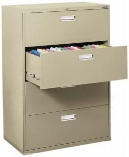 "Sandusky 600 Lateral File Steel 4 Drawer Cabinet, 36"" Width x 53-1/4"" Height x 19-1/4"" Depth, Putty (Retail $623.00)"