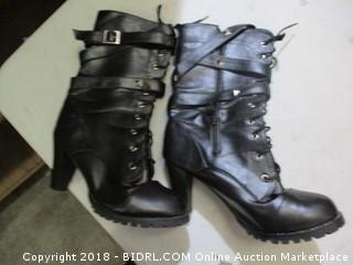 heeled short combat boots
