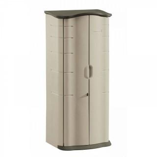 Rubbermaid Outdoor Vertical Storage Shed, Plastic, 17 cu. ft., 2 ft. x 2 ft., Olive/Sandstone (Retail $202.00)