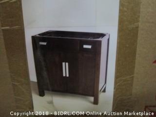 35-in. W x 19.75-in. D Transitional Birch Wood-Veneer Vanity Base Only In Walnut (Retail $300.00)