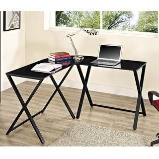 Hemo Black And Black X-frame Glass & Metal L-Shaped Computer Desk MSRP * $194.99