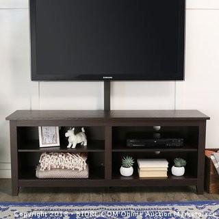"WE Furniture 58"" Wood TV Stand Console with Mount, Espresso MSRP* $192.23"