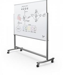 Best-Rite Visionary Move Double Sided Mobile Magnetic Glass Whiteboard Easel, 4x6 Feet, (74951) (Retail $1,133.00)