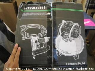"Hitachi KNT50AB Brad Nailer and Compressor Combo Kit, 6 Gallon Pancake Air Tank, 5/8 to 2"" Brad Nails, Includes 25' Air Hose (Retail $179.00)"
