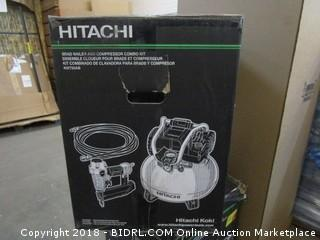 "Hitachi KNT50AB Brad Nailer and Compressor Combo Kit, 6 Gallon Pancake Air Tank, 5/8 to 2"" Brad Nails, Includes 25' Air Hose (Retail $179.00)"