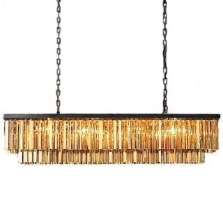 Odeon 12 Light Golden Teak Glass Fringe Chandelier Light Fixture in Java Brown - Restoration Revolution 700136-002 (Retail $3,238.00)