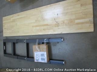 Gladiator GAWB08HWEG 8-ft Adjustable Height Hardwood Workbench, Grey (Retail $570.00) - Damaged