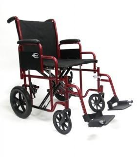 "Karman Bariatric Transport Chair with Removable Armrest Seat, Burgundy, 20"" (Retail $228.00)"
