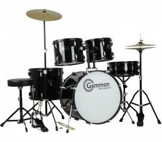 Gammon Percussion Full Size Complete Adult Drum Set with Cymbals Stands Stool and Sticks, Black (Retail $259.00)