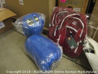 Alpinizmo High Peak USA 2 Vector 38 Backpacks Red + 2 Ceduna 20 Sleeping Bags Combo, Red/Blue, One Size (Retail $171.00)
