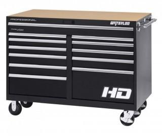 "Waterloo Professional HD Series 12-Drawer Rolling Tool Cabinet with Posi-Latch Drawer Latching System, Black Finish, 56"" W (Retail $3,825.00)"