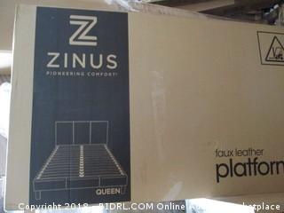Zinus Faux Leather Platform Bed Queen