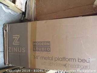 "Zinus Full 14"" Metal Platform Bed with Upholstered Headboard"