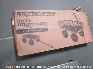 Gorilla Carts Heavy-Duty Steel Utility Cart with Removable Sides with a Capacity of 1000 lb, Gray (Retail $119.00)
