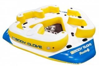 Body Glove Paradise 6 Inflatable Aqua Lounge with Waterproof Speaker System for Lake Relaxation, the party island for 6 (Retail $356.00)