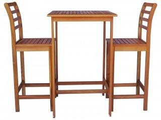 Zen Garden ZG014 Eucalyptus 3-Piece Bar Set with Bar Table and 2 Bar Chairs, Teak Wood Finish, Teak Yellow (Retail $227.00)