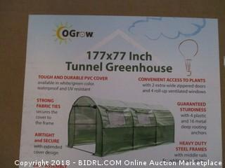 Ogrow 2 Door Walk-In Tunnel Greenhouse With Ventilation Windows & Steel Frame, 15' x 6' x 6', Green (Retail $199.00)