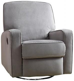 Pulaski Sutton Swivel Glider Recliner, Zen Grey with Stella Piping (Retail $301.00)