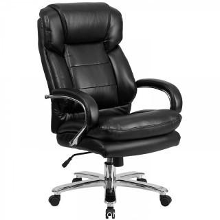 Flash Furniture HERCULES Series 24/7 Intensive Use Big & Tall 500 lb. Rated Black Leather Executive Swivel Chair with Loop Arms (Retail $217.00)