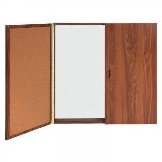 Ghent Conference Cabinet - Porcelain Magnetic Whiteboard w/Cork on Interior of Doors - Oak (Retail $661.00)