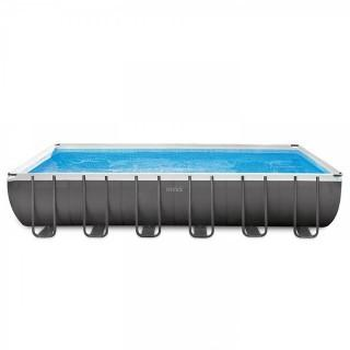 Intex 24ft X 12ft X 52in Ultra Frame Rectangular Pool Set with Sand Filter Pump, Ladder, Ground Cloth & Pool Cover (Retail $999.00)