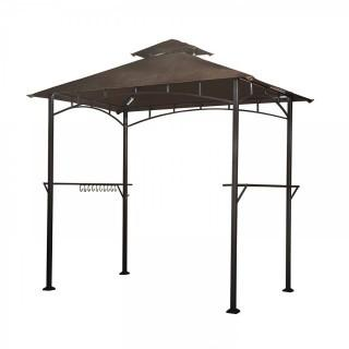 sunjoy L-GG001PST-F 8' X 5' Soft Top Brown Double Tiered Canopy Grill Gazebo With 4Pcs Led Gazebo Grill (Retail $139.00)
