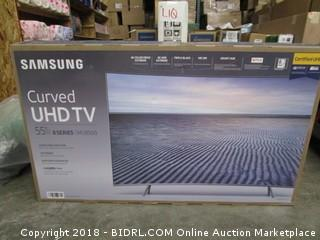 "Samsung Curved UHD TV 55"" TV Powers On"