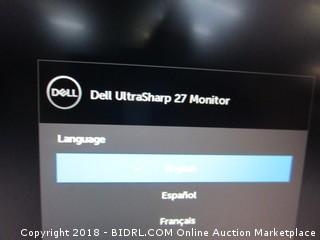 Dell  Ultra Sharp 27 Monitor  Powers On  See Pictures