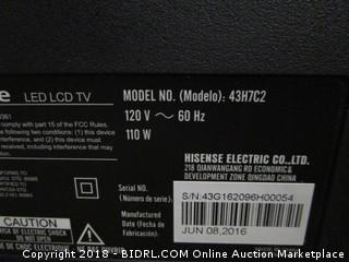 Hisense LED LCD TV Powers on , In Box See Pictures