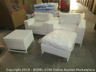 2 Outdoor Chair with  with ottoman and table / Damaged Legs See Pictures