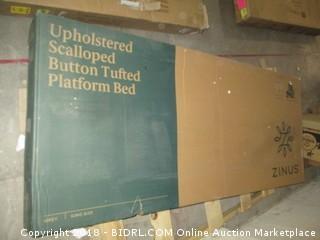 Upholstered Scalloped Button Tufted Platform Bed King Size