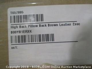 High Back Pillow Back Brown Leather Executive Office Chair