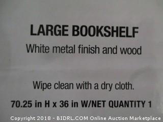 Modern Large Bookshelf White Metal Finish and Wood