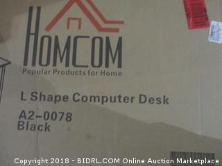 "64"" Modern L-Shaped Glasstop Office Workstation Computer Desk Box 2 of 2 Only Incomplete Set"