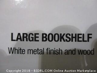 Modern Large Bookshelf White Metal Finish and Wood