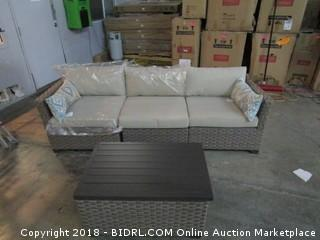 Outdoor Sofa and Storage Table / Some damaged See Pictures