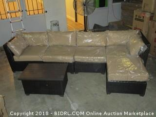 Outdoor Sofa with Chaise and Coffee table/ Damaged See Pictures