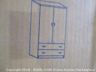 HODEDAH IMPORT Hodedah Two Door Wardrobe, with Two Drawers, and Hanging Rod, Mahogany (Retail $99.00)