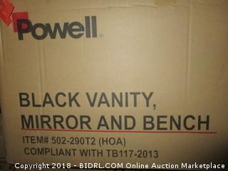 Powell Black Vanity Mirror and Bench