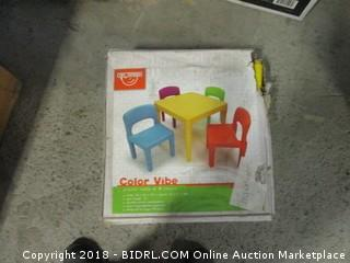 Tot Tutors Kids Plastic Table and 4 Chairs Set, Vibrant Colors (Retail $44.00)