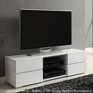 Coaster Contemporary Glossy White TV Console with Glass Shelf (Retail $191.00)