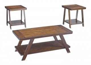 Ashley Furniture Signature Design - Bradley 3-piece Occasional Table Set - Burnished Brown (Retail $207.00)