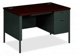 "HON Metro Classic Small Office Desk - Right Pedestal Desk with File Drawer, 48"" W, Charcoal & Mahogany (HP3251R) (Retail $458.00)"